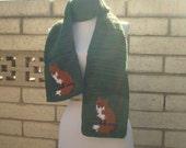 Fox Scarf - Green Scarf for Men or Women - Crochet Scarves - Crocheted Scarf - Unisex Scarf - Woodland Animal Scarf - Warm, Soft, Long