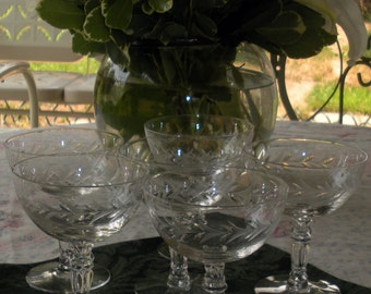 Vintage Champagne Glasses/Coupes With Etched Laurel Wreath (Set of 6)