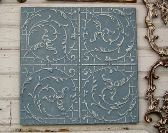 Tin ceiling tile. Vintage, Circa 1915. Missouri architectural salvage. FRAMED 2x2 Ready to Hang. Blue metal wall decor.
