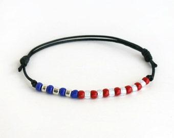 American Flag Bracelet, 4th of July Bracelet, 4th of July Anklet, July 4 Bracelet, American Flag Anklet  (many colors to choose)