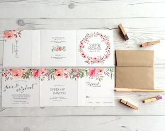 Wedding Invitation Suite  Tri Fold Watercolor Floral   All In One Wedding  Invites (