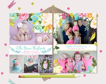 Fresh Floral Baby Girl Announcement - 7 photo collage Card - Pink & Blue