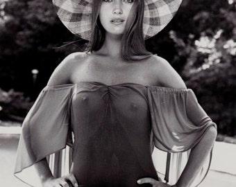 Sexy Jane Seymour 1970s Bond Girl Risque Sex Symbol Beautiful English Woman Sheer Nude Nearly Naked Black & White Photography Photo RePrint
