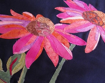 Table Runner, Quilted & Appliquéd: Coneflowers