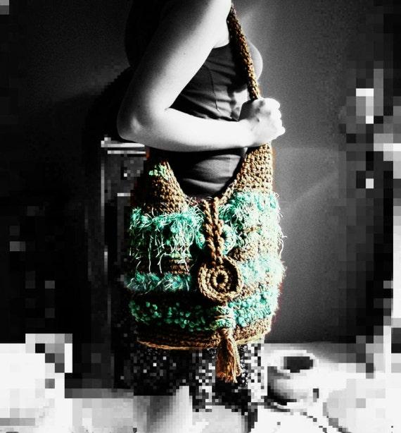 Boho bag, Crochet bag, Tote bag, Festival, Gypsy, Freeform, shoulder Bag, Coffee, Turquoise, Teal, chocolate bag, Hippie, Yoga