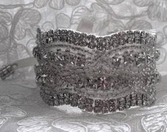 Julia Wedding Bridal Rhinestones Crystal Bracelet Cuff with Ribbon Closure