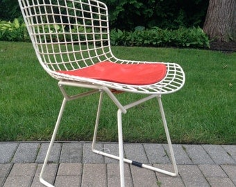 Vintage Knoll Bertoia Side Chair with Seat Pad c 1960s, authentic vintage Knoll mid century modern furniture