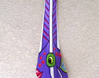 Purple Angelfish Tiki Mask on Fan Palm Frond