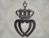 Vintage Celtic Luckenbooth Scottish Medal Locked Crowned Double Heart Pendant
