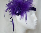 Purple Feather Crystal Pearl 1920's Flapper Style Ribbon Tie Bridal Headband Fascinator - Custom Order Made to Order