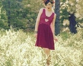 Size Small... Upcycled Lace Dress... Deep Rose Pink Lace