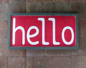 Red Hello Sign | Wall, Bedroom, Fireplace, Mantel Frame. Hand Painted Hanging Wood Sign
