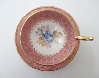 Aynsley Tea Cup & Saucer Dusty Rose Pink Blue Rose Hand Painted Gold Gilt