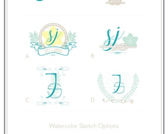 Custom Wedding Monogram, Wedding Logo, Wedding Stationery, Day of Wedding.