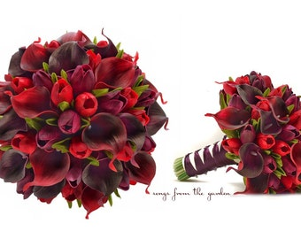 Ready to Ship - Real Touch Callas Purple Tulips Bridal Bouquet Plum and Red - Real Touch Silk Flower Bridal Bouquet