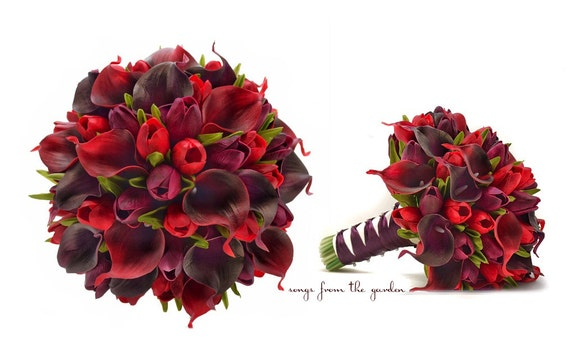 Real Touch Callas Purple Tulips Bridal Bouquet Plum and Red - Real Touch Silk Flower Bridal Bouquet - Customize for your Colors