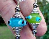 Lampworked Twin Bead Earrings, handmade, mismatched pair in blue and green
