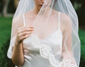 Nicole, Corded Lacel Veil, Cathedral Veil, Lace veil, Short Veil, Scalloped lace veil, Lace edge Veil, Ivory Veil, floral lace veil
