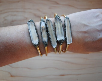 Crystal and Pyrite Cuff Bracelet-Clear Quartz-ready to ship