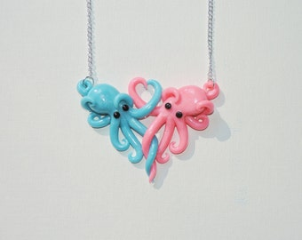 Intertwined Octopi in love Necklace,  blue an pink valentines day gift, anniversary, christmas, birthday,