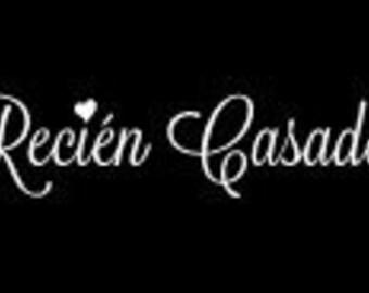 Recien Casados - Just Married voiture signe Flex mariage fenêtre sticker mariage signe espagnol