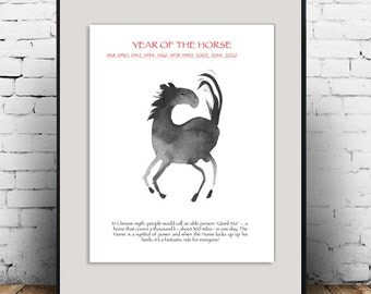 Zen Horse for Chinese  New Year of the Horse, Original Zen Sumi Ink Painting, zen decor, japanese zen illustration, childrens room art