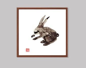 Zen Rabbit for Chinese New Year of the Rabbit, Original Zen Art Sumi-e ink Painting, zen decor, japanese style, child's nursery art