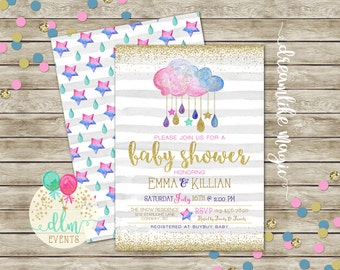 Watercolor Cloud Baby Shower Invitation, Baby Shower Invite, Baby Sprinkle, Baby Shower Clouds, Watercolor Invite, Raindrop, Printable