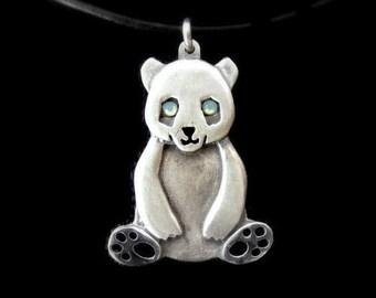 Sterling Silver Panda necklace, cute panda pendant, panda jewelry, girls panda necklace gift, panda bear necklace, panda bear pendant
