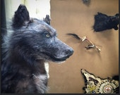 Wolf mount taxidermy native american made Canadian Log cabin lodge rustic decor