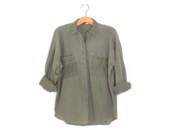 Vintage 80s Shirt * Oversized Button-up Shirt * Army Green 1980s Blouse * Medium