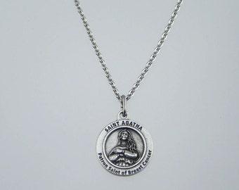 Saint Agatha Breast Cancer Survivor Medal Necklace