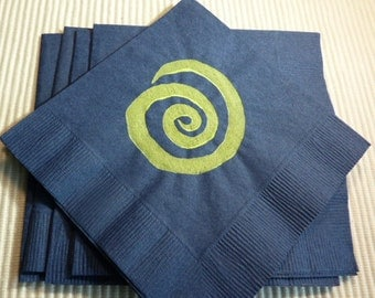 Swirl Paper Cocktail/ Luncheon/ Dinner  Napkins - Navy and Bright Green