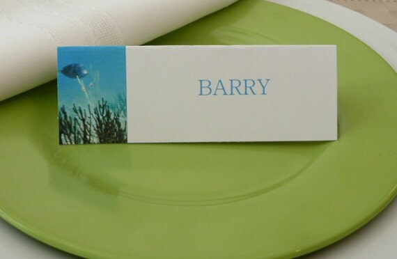 Place Cards/ Name Cards/ Food Tents - Ocean Fish - Set of 6- Beach Party Table Decoration