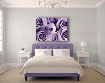 Large Canvas Art, Purple Decor, Roses, Mauve, Bedroom Wall Art, Purple Flowers, Modern, 16x20 Canvas
