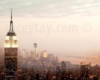 Pastel New York Photography, Manhattan Skyline, Pink, Gold, New York City Print, NYC Skyline