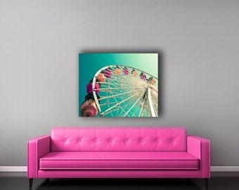 Ferris Wheel, Canvas Wall Art, Teal Nursery Canvas, Baby Nursery Decor, Large Canvas Art, Carnival Decor
