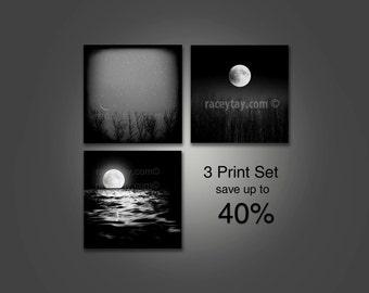 Moon Prints- Black and White Photography- Moon Art- Full Moon & Stars- Lunar Decor- Set of 3 Prints
