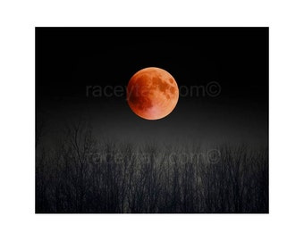 Blood Moon, Black & Orange Moon Art- Full Moon Print- Pagan, Nature Photography, 2015 Super Moon