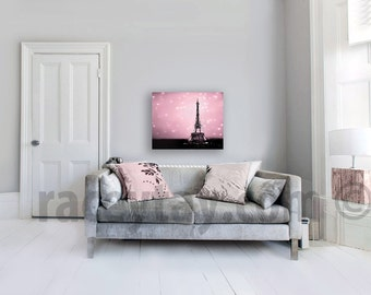 Pink Paris Canvas Art, Eiffel Tower Wall Art, Pink, Black Pink, Paris Decor, Bedroom Wall Art Canvas