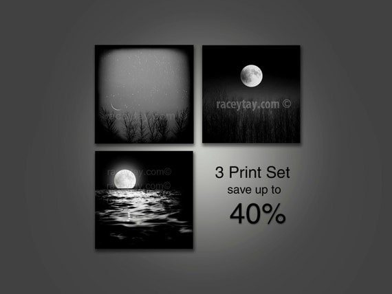 Moon Prints- Black and White Photography- Moon Art- Full Moon & Stars- Lunar Decor- Set of 3 Prints