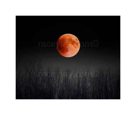 Blood Moon, Black & Orange Moon Art- Full Moon Print- Pagan, Nature Photography, 2015 Super Moon