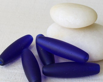 30mm Tapered Long Tube Beads - Jewelry Making Supply - Recycled Sea Glass Beads - Matte Cobalt Blue ( 12 Beads) Jewelry Supply