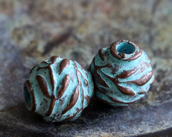 Mykonos Green Patina Olive Leaf Beads - 12mm Round Bead Made In Greece - Jewelry Making Supply - Boho Jewelry Supply - Choose Amount