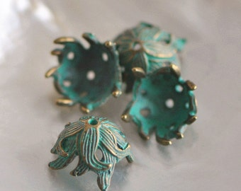 Verdigris Metal Bead Caps, Green Patina Findings 16x9mm  (#10604)/ 10pcs