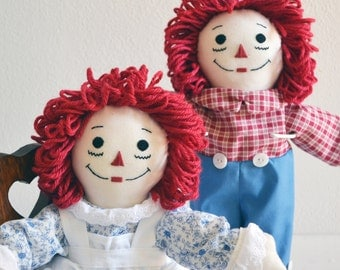 """Made to Order 15"""" Raggedy Ann OR Raggedy Andy Doll- handmade, personalizion and earth friendly materials available too."""