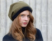 Slouchy Beanie Hat in Green Corduroy Fabric (Sample Sale)