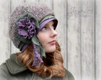 Beanie Hat Mori Girl Beret Hat Purple and Green / Recycled Sweater Hat / Chemo Hat