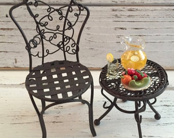 Miniature Decorated Garden Side Table, Dollhouse Miniature, 1:12 Scale, Includes Mini Pitcher of Lemonade, Fruit Plate, Filled Glass