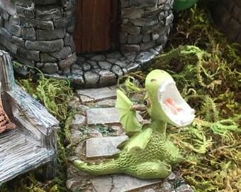 Miniature Dragon Roaring Figurine, Green Dragon 4351, Fairy Garden Accessory, Garden Decor, Enchanted Story, Topper, Shelf Sitter